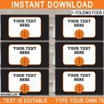 Basketball Party Food Labels Template   Free Printable Basketball Labels