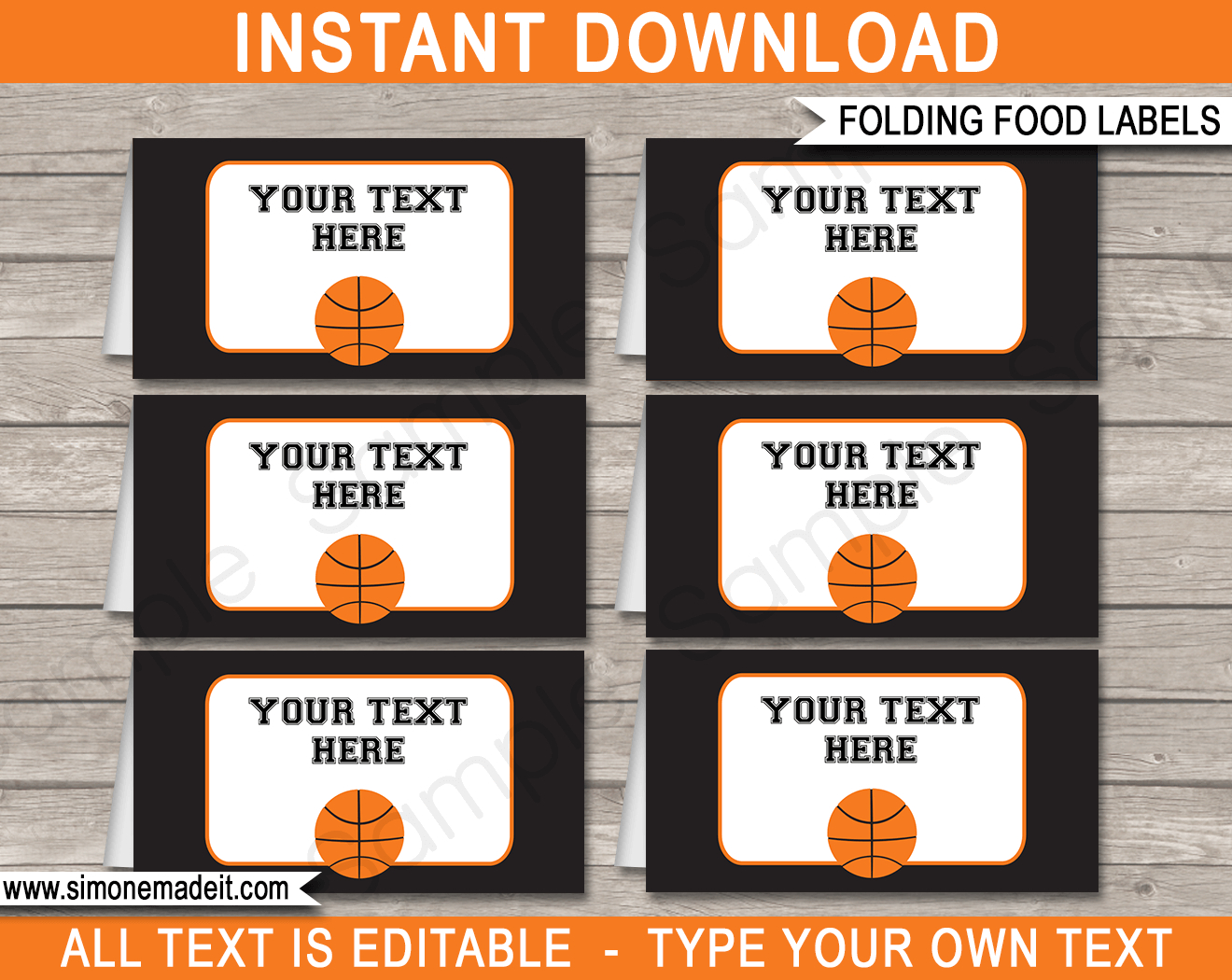 Basketball Party Food Labels Template - Free Printable Basketball Labels