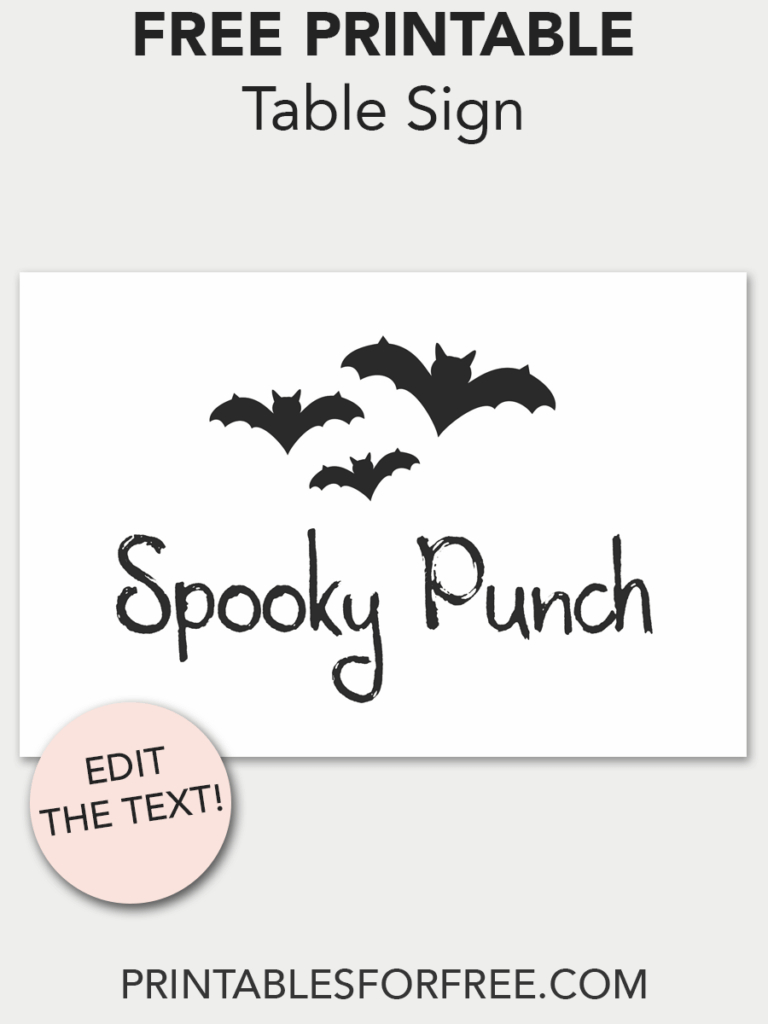 Bat Table Sign | Free Party Printables | Free Printable Stationery - Free Printable Halloween Place Cards