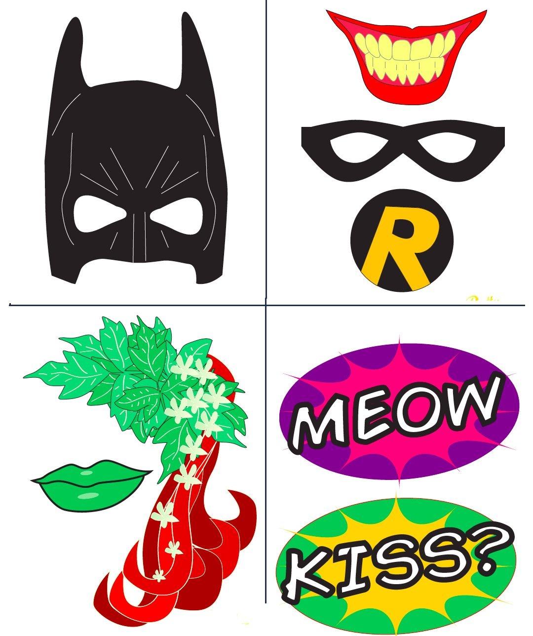 Batman Party With Free Photobooth Mask + Prop Printables | Birthday - Free Superhero Photo Booth Printables