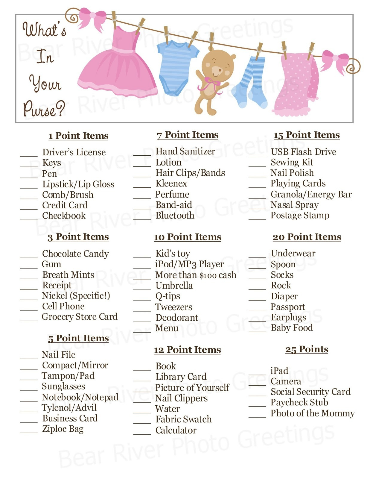 Bear River Photo Greetings: New! Instant Download Baby Shower Games - Free Printable Baby Shower Game What's In Your Purse