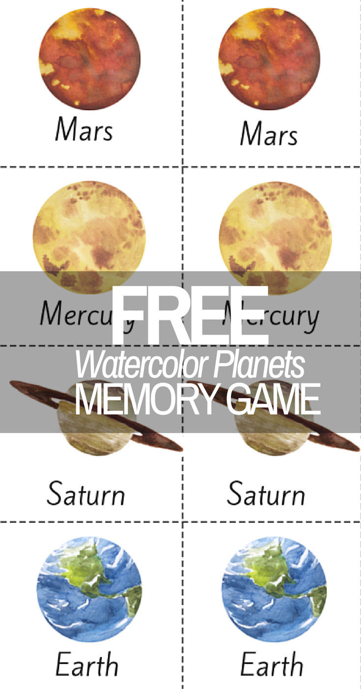 Beautiful Watercolor Planet Solar System Printable Memory Game! - Free Printable Pictures Of Planets