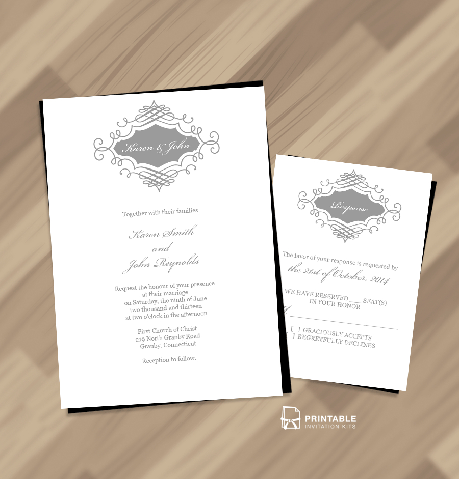 Beautiful Wedding Monogram Free Invitation And Rsvp ← Wedding - Free Printable Monogram Wedding Invitation Templates