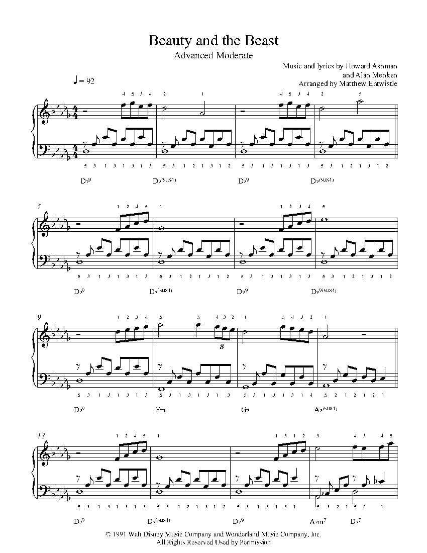 Beauty And The Beasthoward Ashman & Alan Menken Piano Sheet - Beauty And The Beast Piano Sheet Music Free Printable