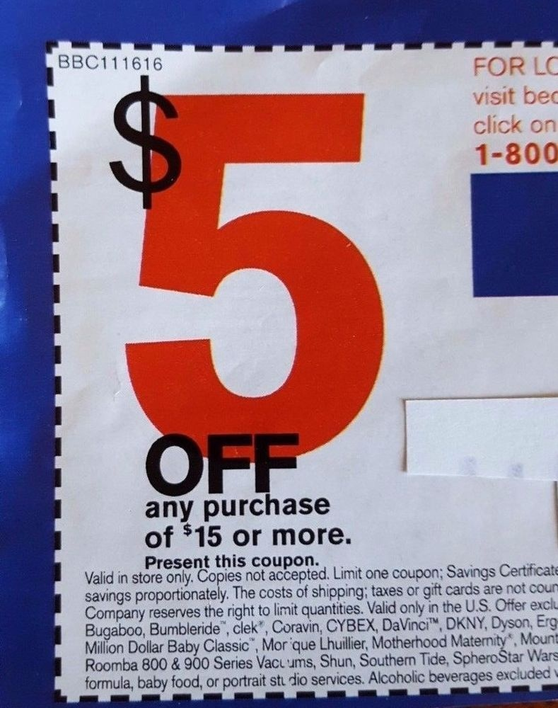 Bed Bath Beyond Coupon 5 Off Save $5 (Any Purchase $15 Or More) Deal - Free Printable Bed Bath And Beyond 20 Off Coupon