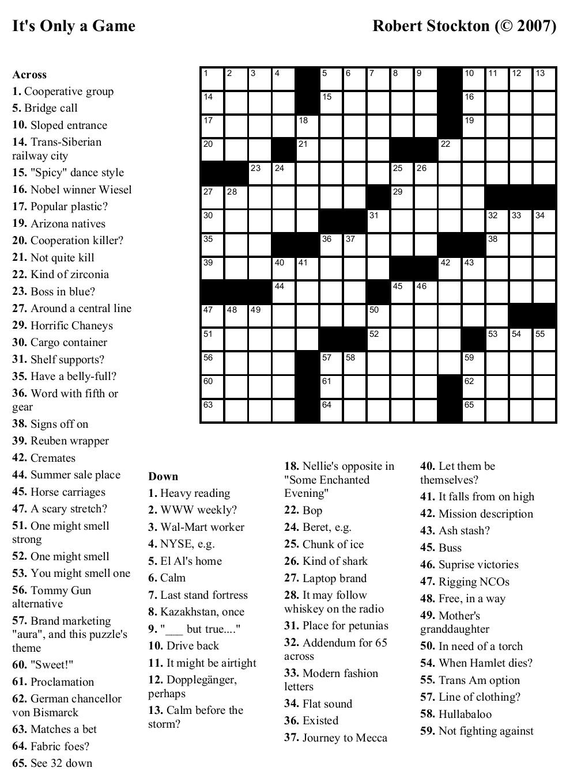 Beekeeper Crosswords - Free Daily Printable Crosswords