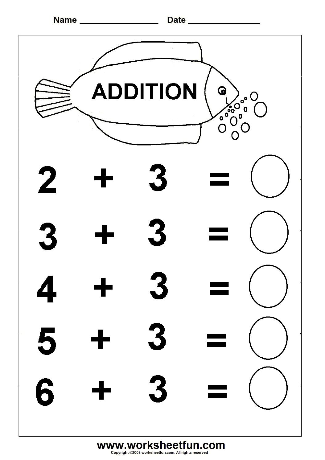 Beginner Addition – 6 Kindergarten Addition Worksheets / Free - Free Printable Preschool Addition Worksheets
