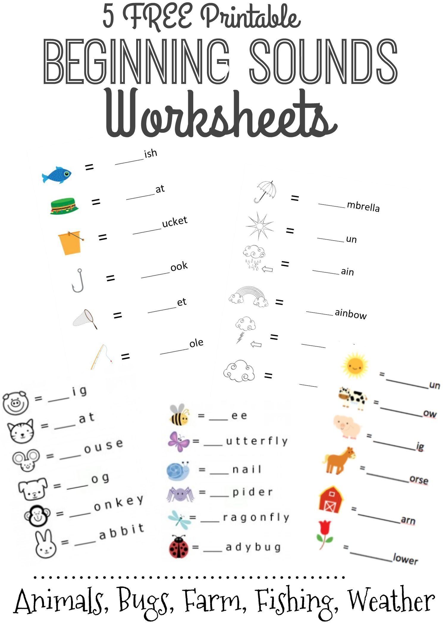 Beginning Sounds Letter Worksheets For Early Learners | Our Top - Free Printable Language Arts Worksheets For Kindergarten