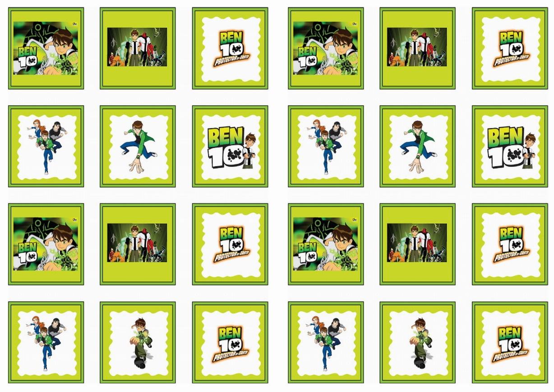 Ben 10 Stickers   Birthday Printable - Free Printable Ben 10 Cupcake Toppers