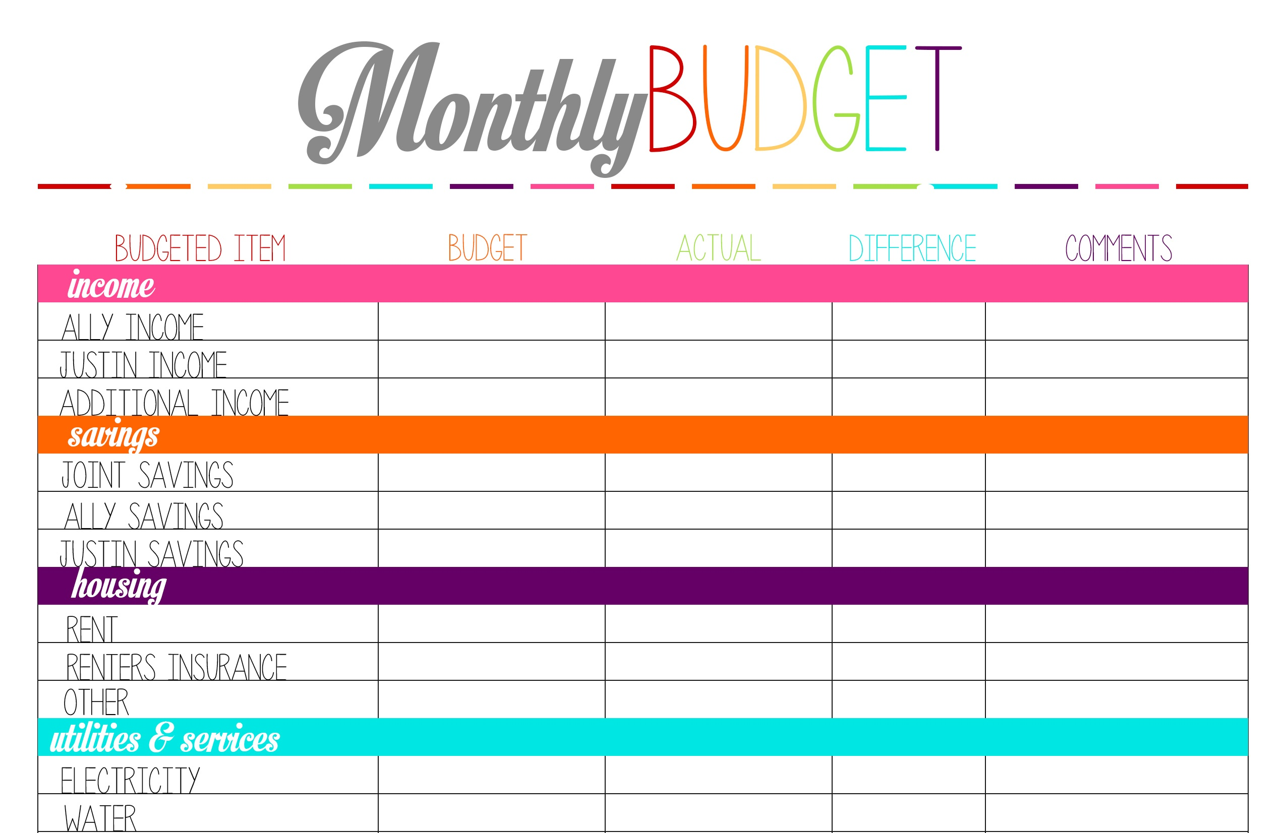 Best Budget Sheets - Kaza.psstech.co - Free Printable Budget Templates