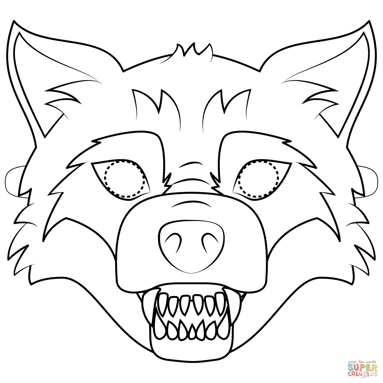 Big Bad Wolf Mask Coloring Page | Free Printable Coloring Pages - Free Printable Wolf Mask