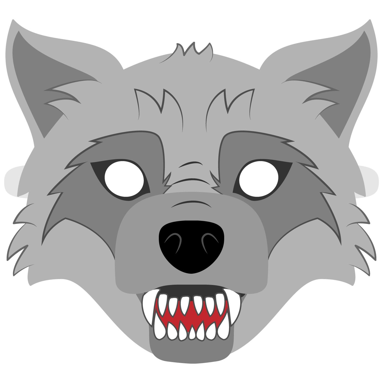 Big Bad Wolf Mask Template | Free Printable Papercraft Templates - Free Printable Wolf Face Mask