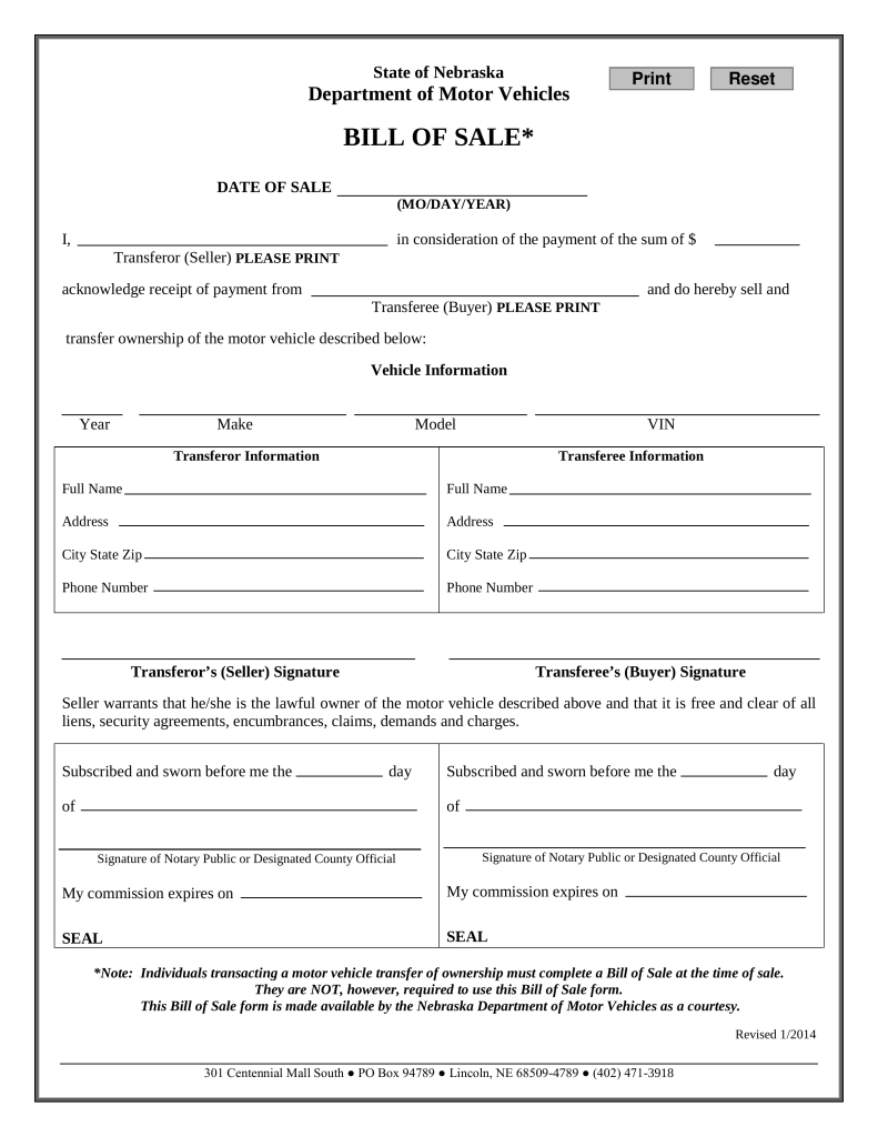 Bill Of Sale Car Form - Tutlin.psstech.co - Free Printable Blank Auto Bill Of Sale
