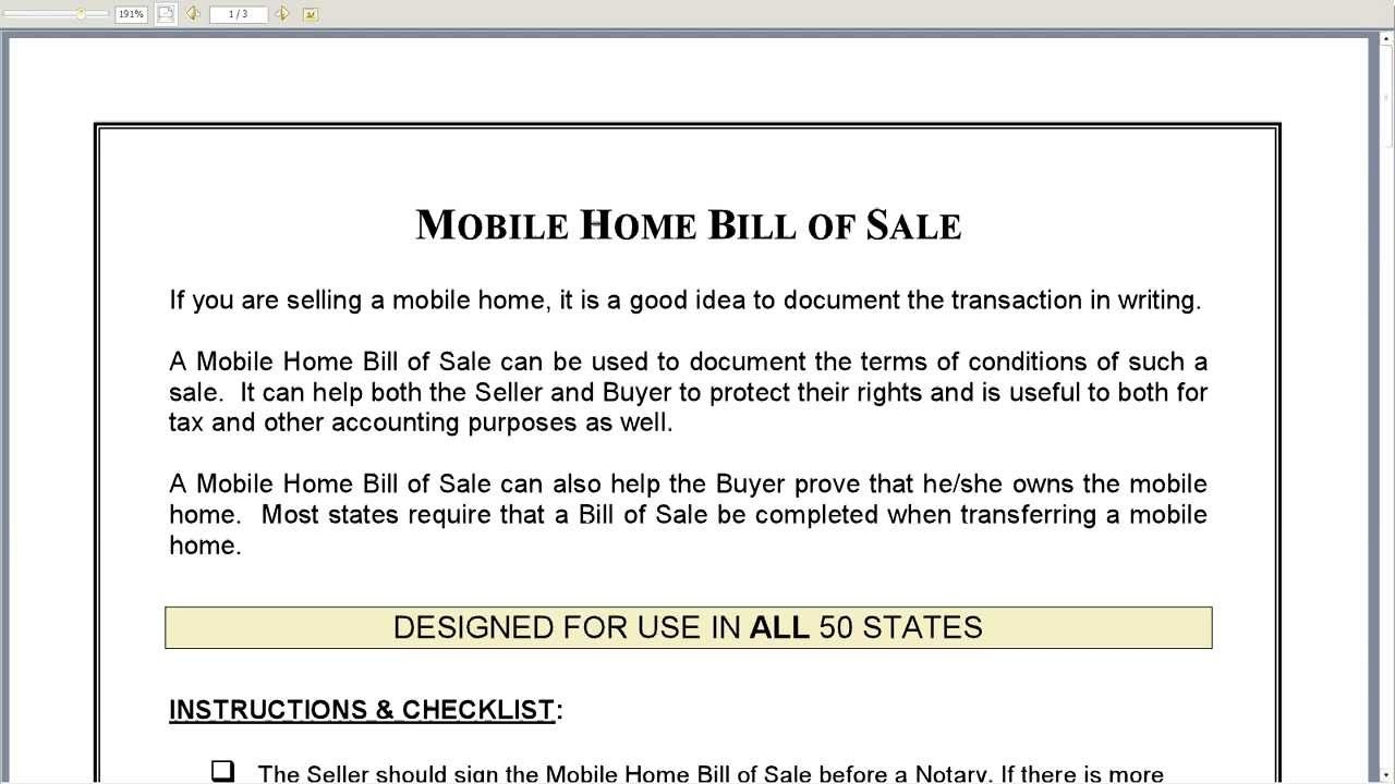 Bill Of Sale Mobile Home (17 Photos) - Bestofhouse   23741 - Free Printable Bill Of Sale For Mobile Home