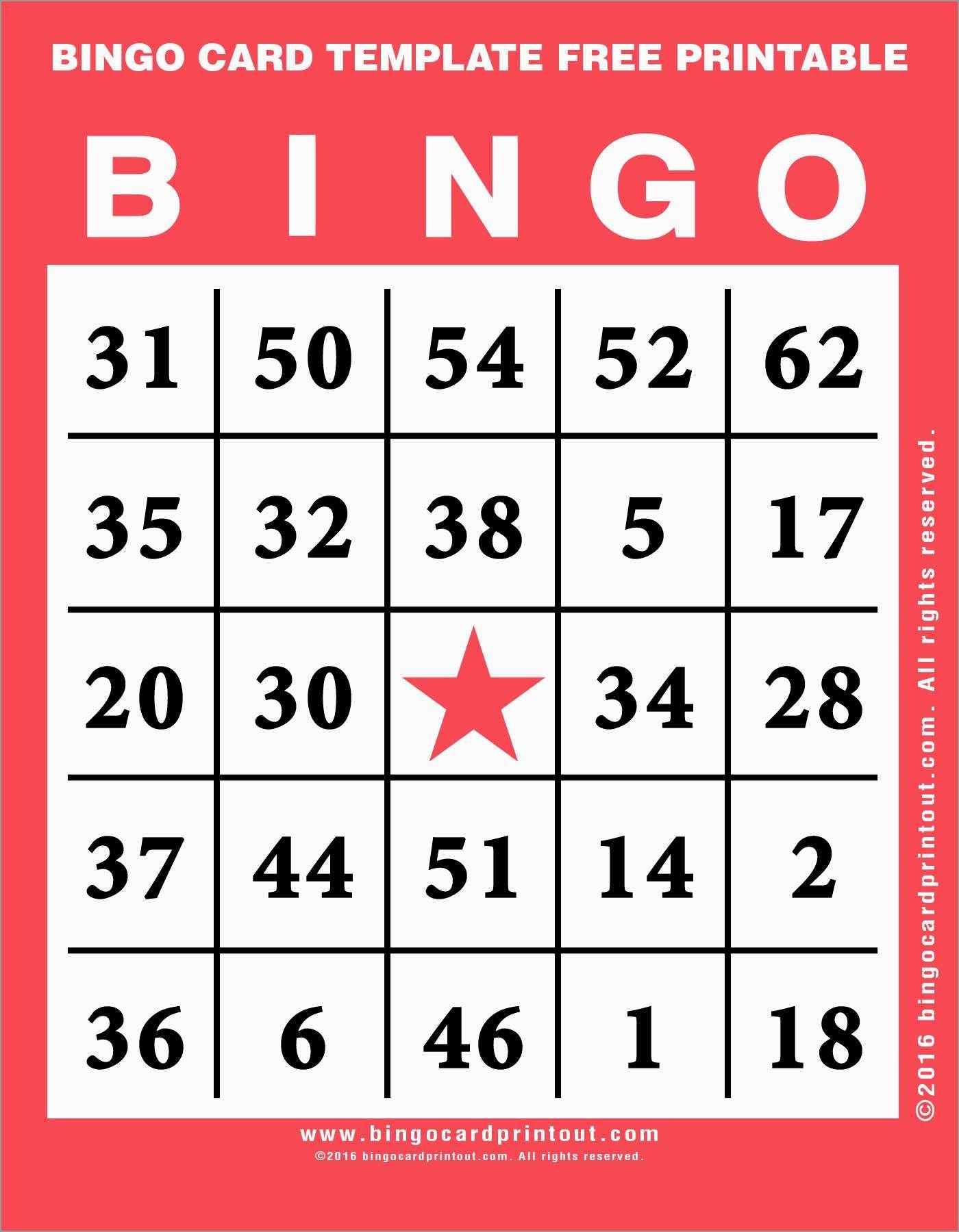 Bingo Card Template Free Great Free Printable Bingo Cards Template - Printable Bingo Template Free