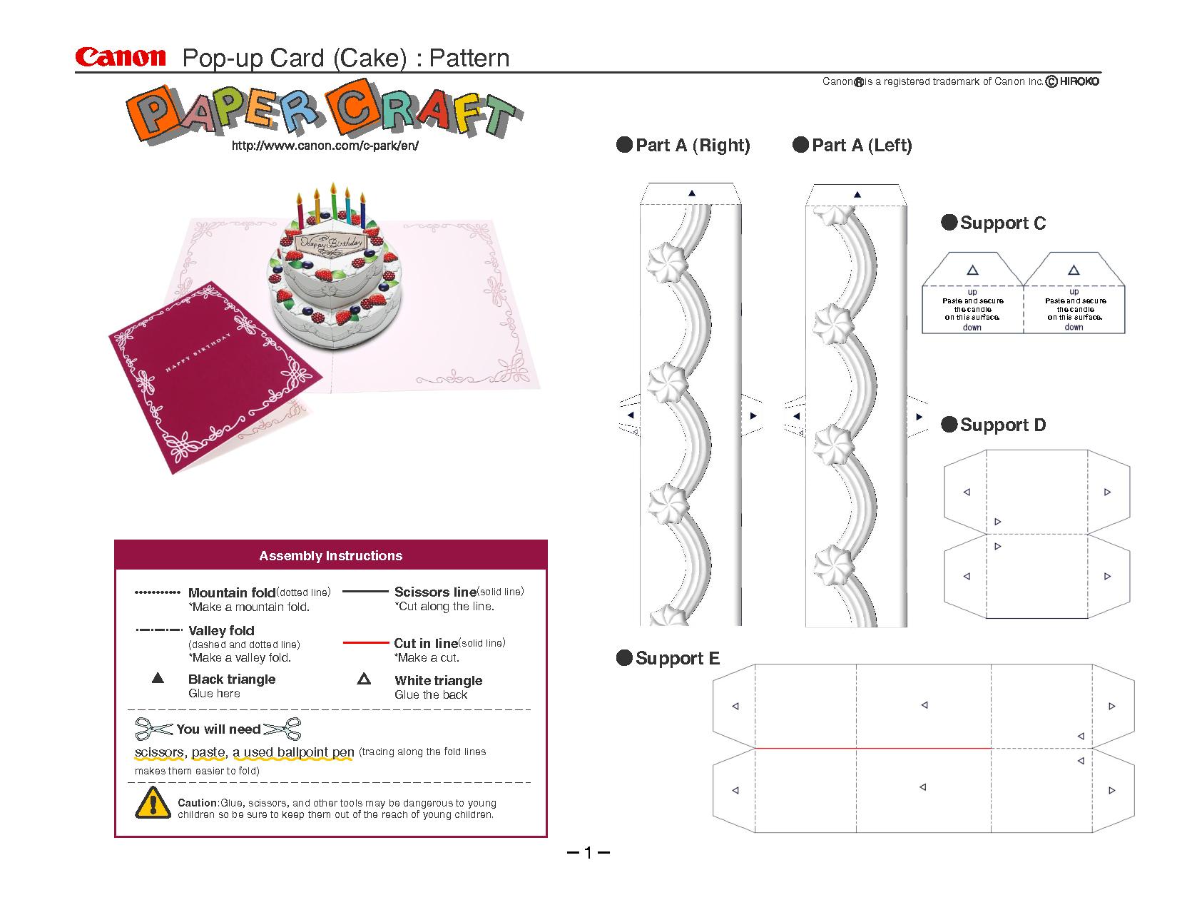 Birthday Cake Pop-Up Card Template | Cards | Pop Up Card Templates - Free Printable Pop Up Birthday Card Templates