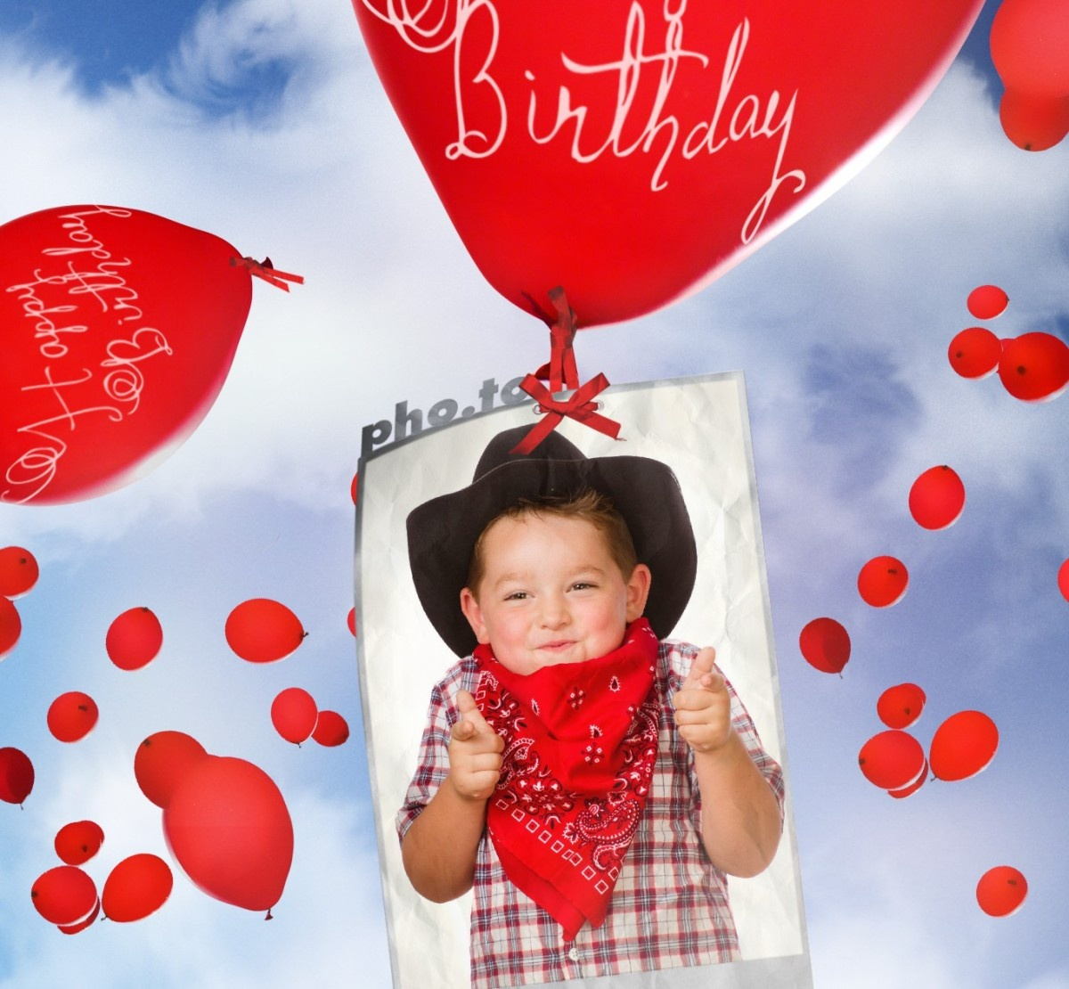 Birthday Card With Flying Balloons! Printable Photo Template - Make Your Own Printable Birthday Cards Online Free