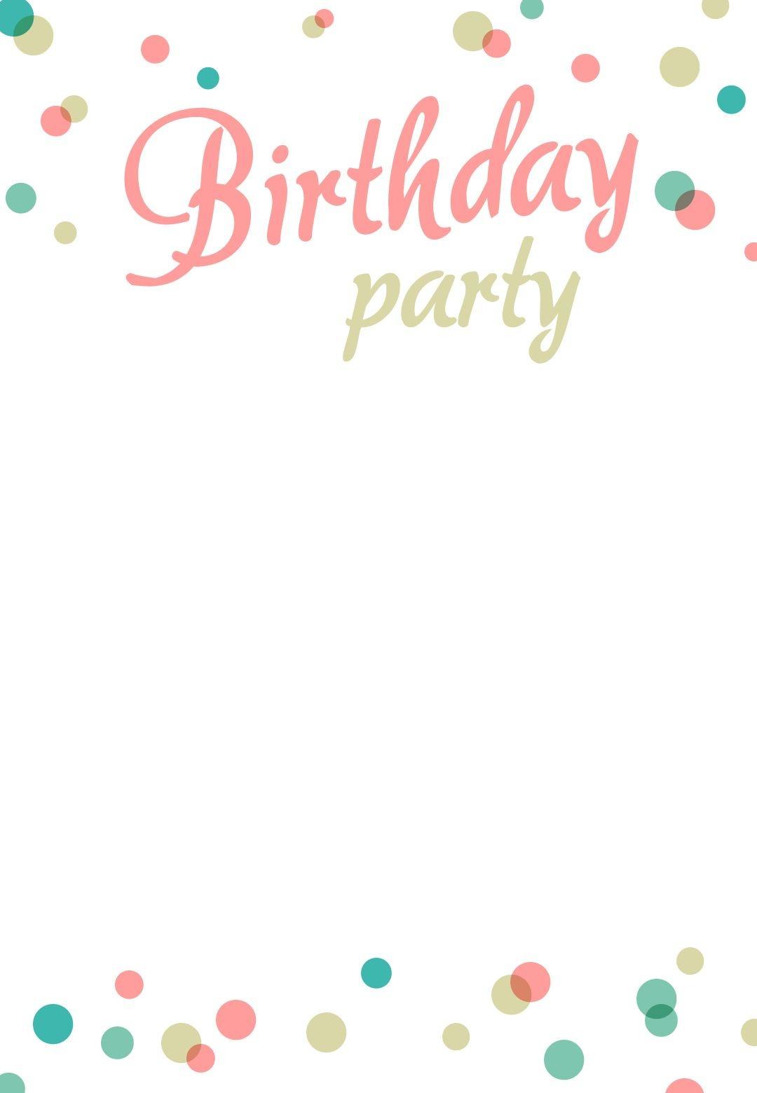 Birthday Party Dots - Free Printable Birthday Invitation Template - Free Printable Birthday Invitations