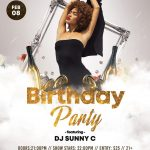Birthday Party Free White & Gold Psd Flyer Template | Free Psd   Pool Party Flyers Free Printable