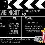 Birthday Party Invitation Templates Movie Theme | Kalli's 13Th   Free Printable Movie Ticket Birthday Party Invitations