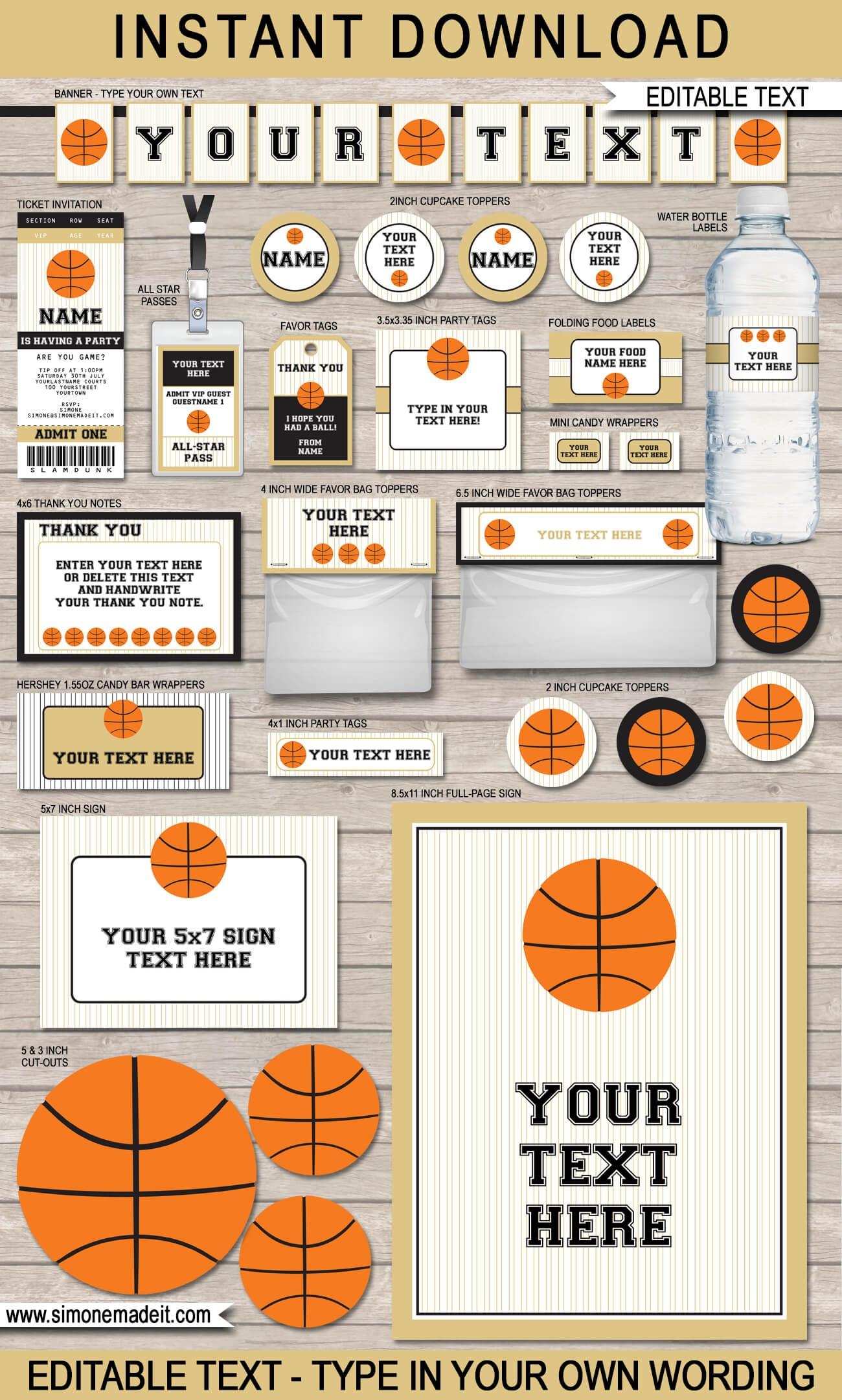 Black & Gold Basketball Printables, Invitations & Decorations - Basketball Invites Free Printable