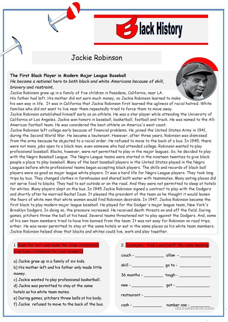 Black History: Jackie Robinson (2 Pages) Worksheet - Free Esl - Jackie Robinson Free Printables