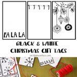 Black White Free Printable Gift Tags & Guy Gift Idea   Kleinworth & Co   Christmas Gift Tags Free Printable Black And White