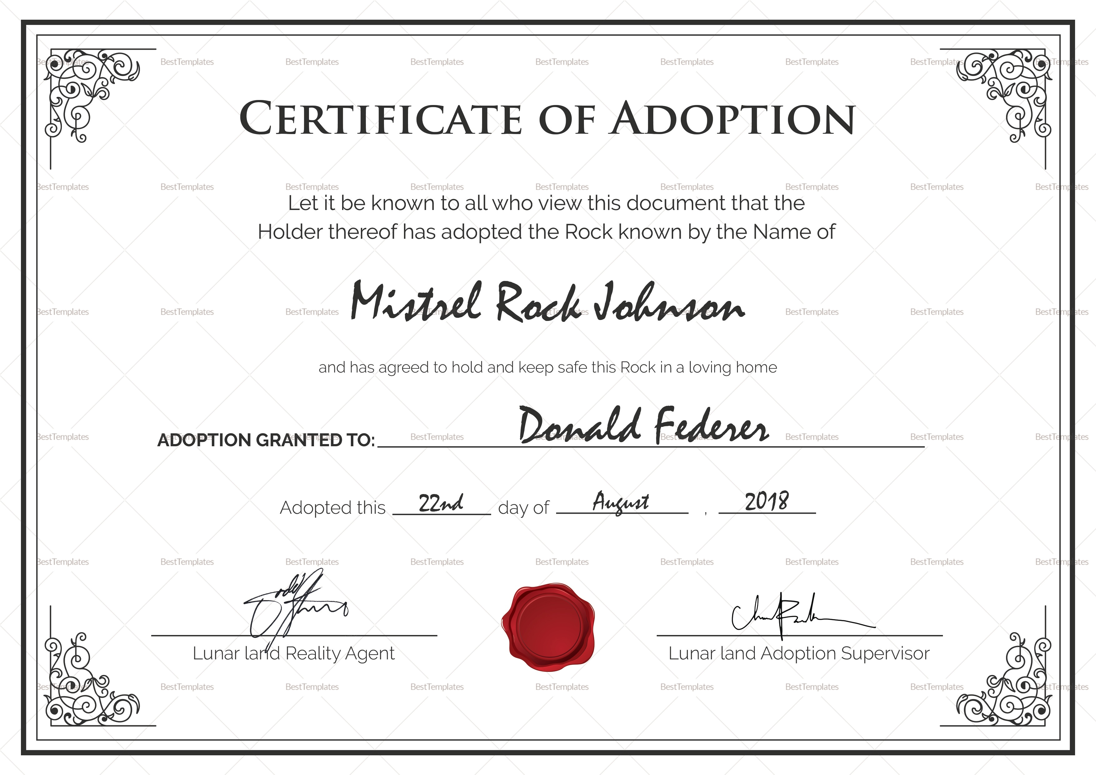 Blank Adoption Certificate Template - Demir.iso-Consulting.co - Fake Adoption Certificate Free Printable