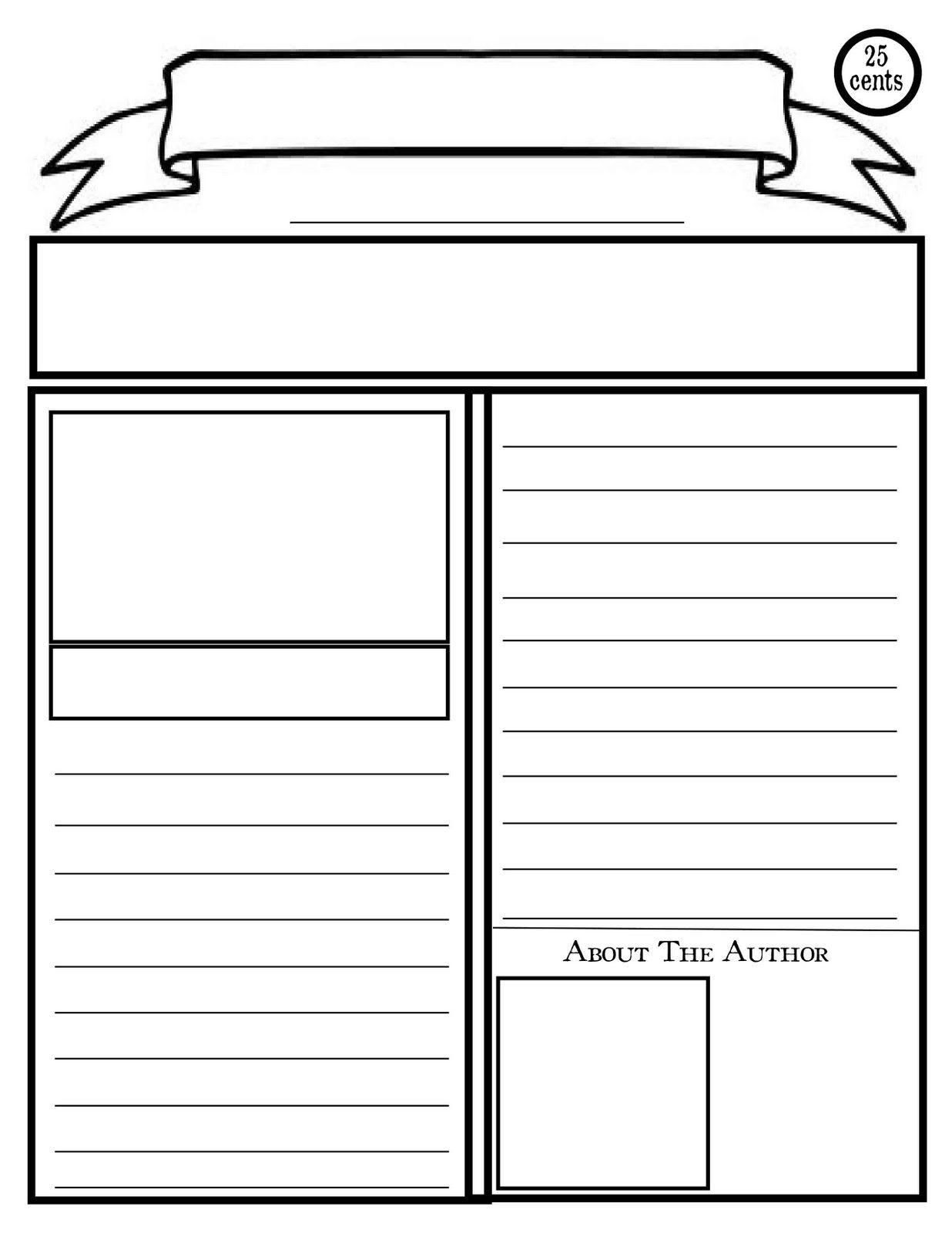 Blank Newspaper Template For Kids Printable   Homework Help - Free Printable Newsletter Templates