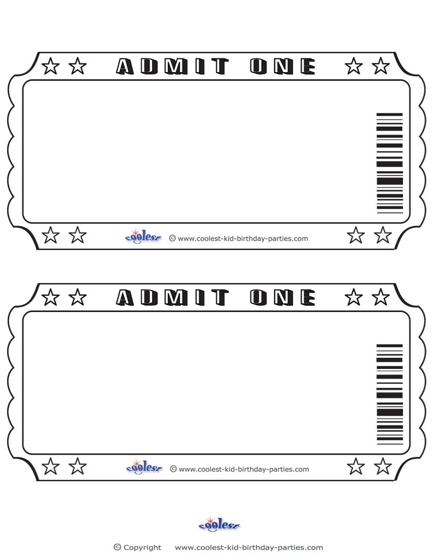 Blank Printable Admit One Invitations Coolest Free Printables - Free Printable Movie Ticket Birthday Party Invitations