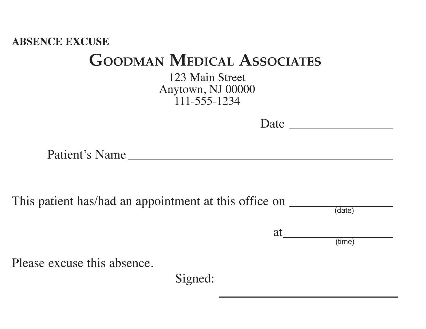 Blank Printable Doctor Excuse Form | Keskes Printing - Mds - Free Printable Doctor Excuse Slips