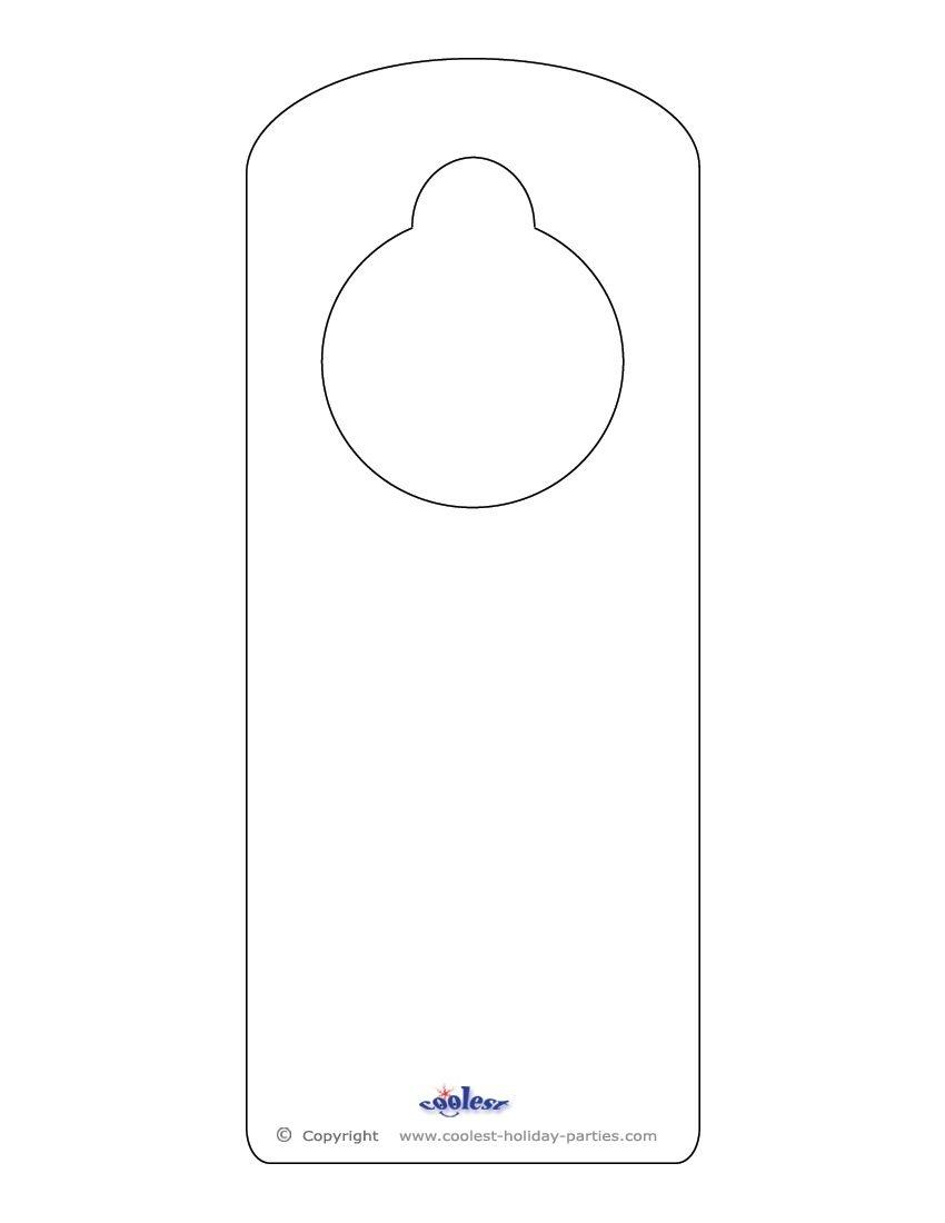 Blank Printable Doorknob Hanger Template | Templates | Doorknob - Free Printable Door Hanger Template