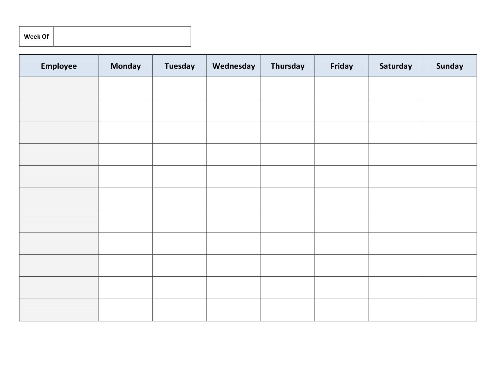 Blank Weekly Work Schedule Template | Schedule | Cleaning Schedule - Free Printable Work Schedule Maker