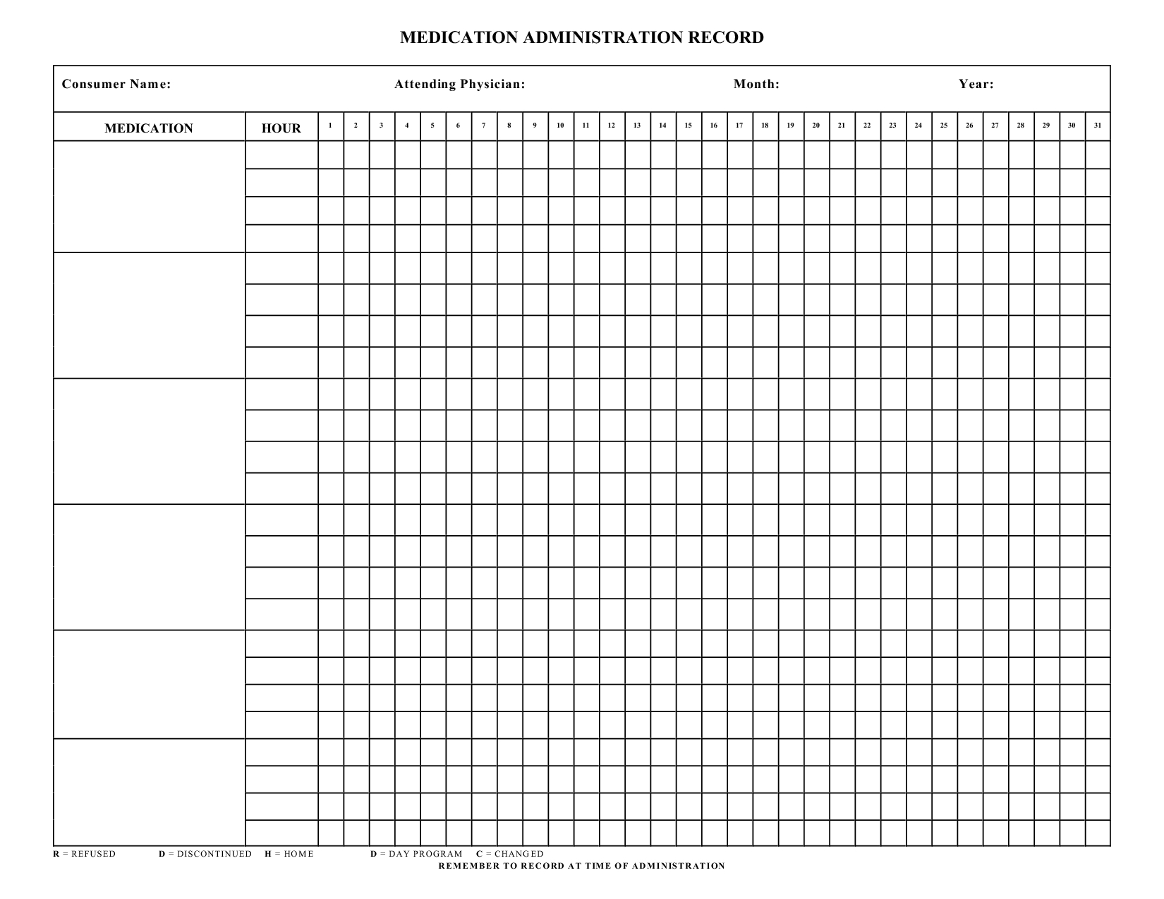 Blank+Medication+Administration+Record+Template | Mrs. Summers - Free Printable Medication Chart
