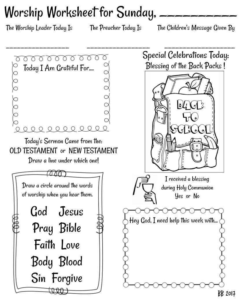 Blessing Of The Back Packs Worship Worksheet. Free Printable - Free Printable 5 W's Worksheets
