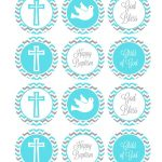 Blue And Grey Baptism Cupcake Toppers Baptism Cake Toppers | Etsy   Baptism Cupcake Toppers Printable Free