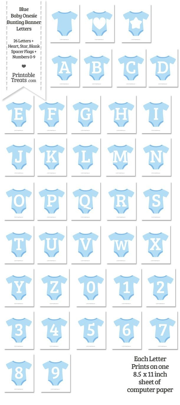 Blue Baby Onesie Shaped Banner Letters Download From Printabletreats - Free Printable Baby Onesie Template