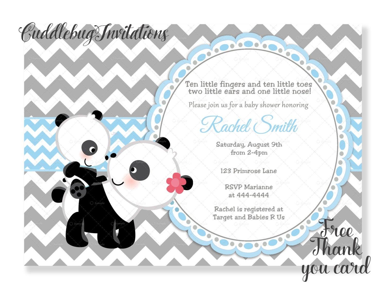 Blue Boy Panda Baby Shower Invitation Panda Bear Baby Boy | Etsy - Panda Bear Invitations Free Printable