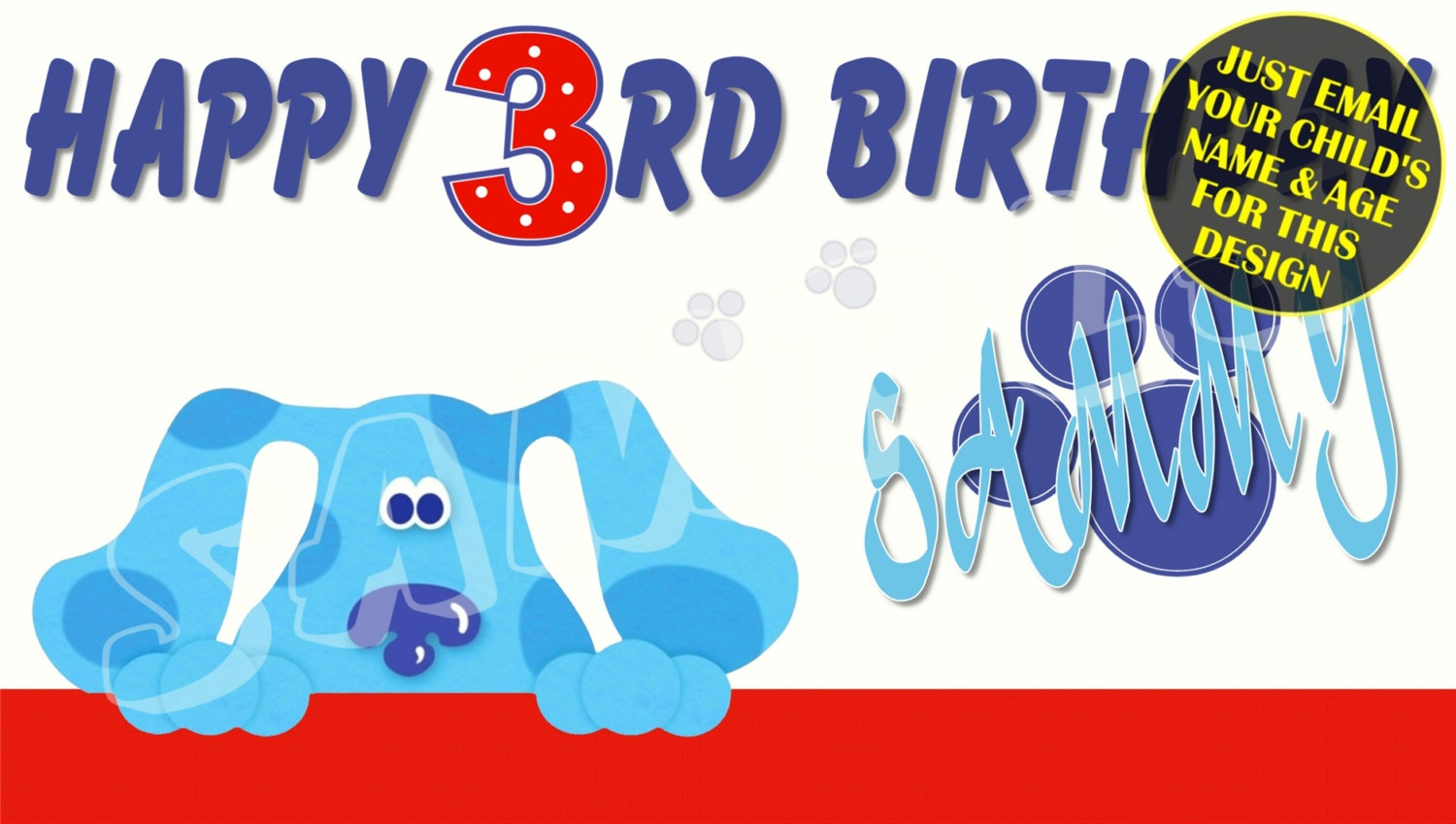 Blues Clues Personalized Birthday Banner With Free Printable | Etsy - Free Printable Birthday Banners Personalized