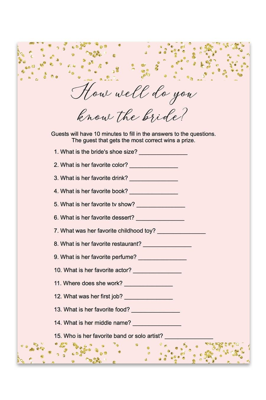 Blush And Confetti How Well Do You Know The Bride Game | Love<3 - Free Printable Bridal Shower Cards