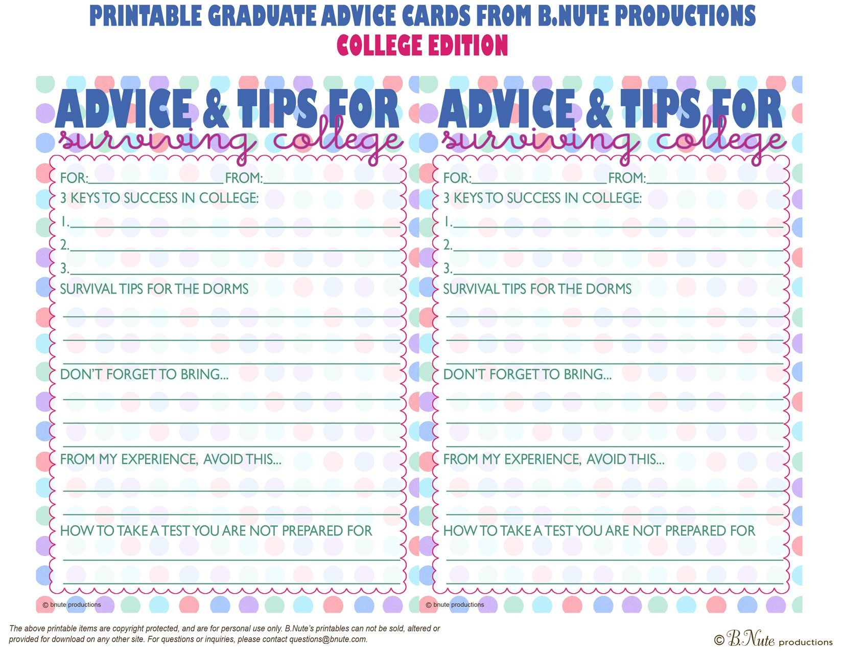 Bnute Productions: Free Printable Graduate Advice Cards - College - Free Printable Graduation Advice Cards
