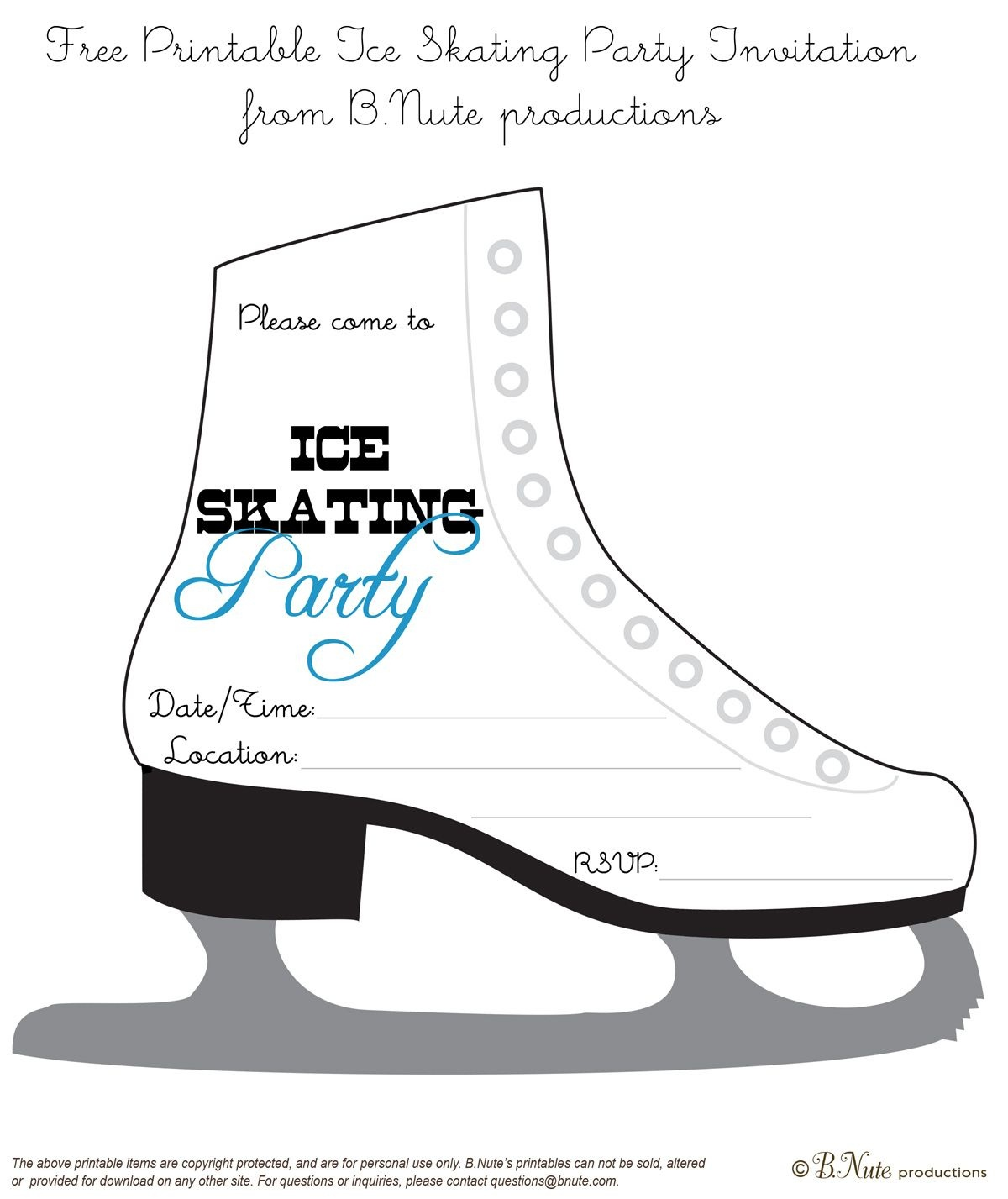 Bnute Productions: Free Printable Ice Skating Party Invitation - Free Printable Skating Invitations