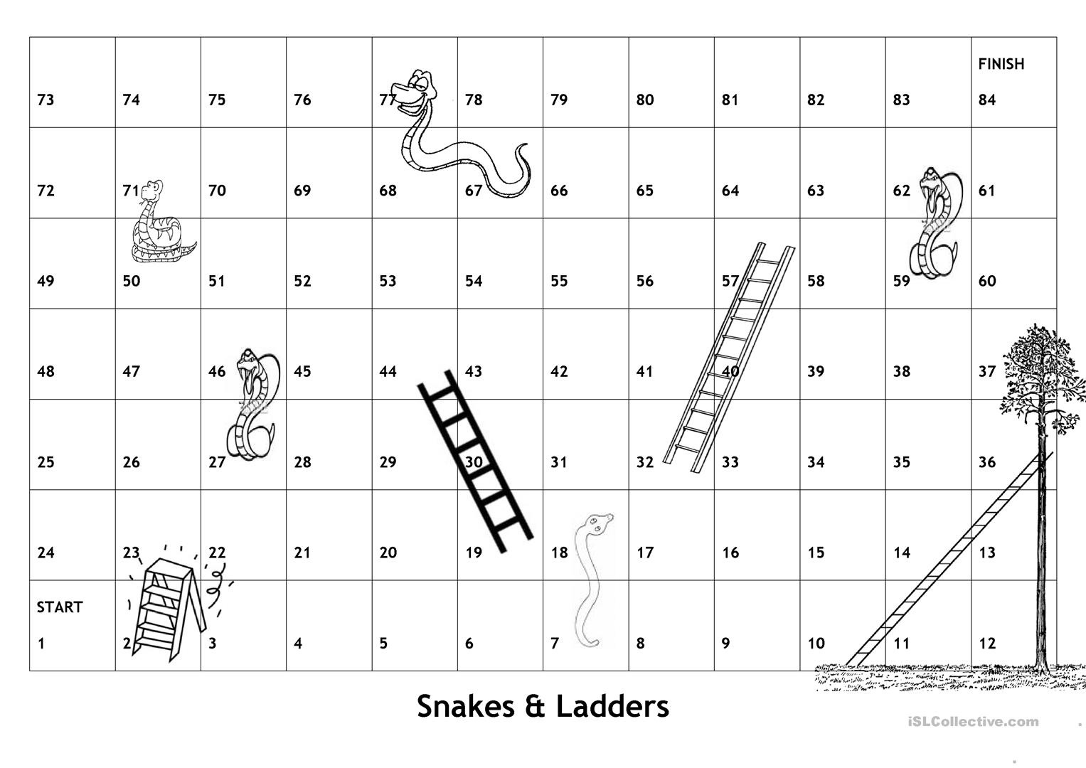 Board Game - Snakes & Ladders - With English Game Questions And - Free Snakes And Ladders Printable