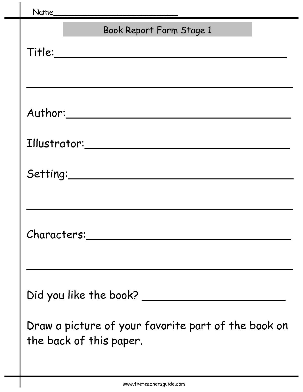 Book Report Worksheets From The Teacher's Guide - Free Printable Book Report Forms