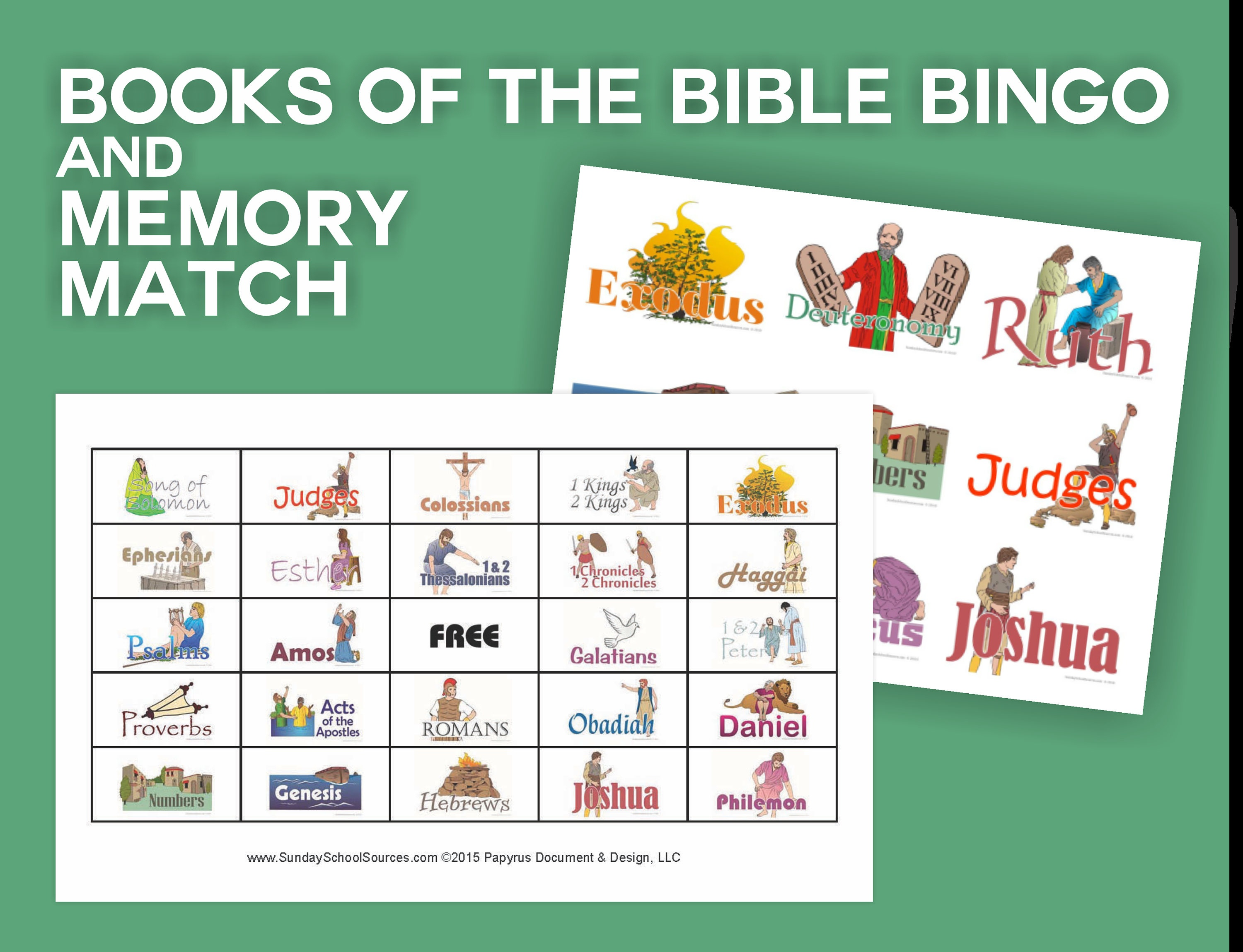 Books Of The Bible Bingo 48 Printable Cards & Memory Match | Etsy - Bible Bingo Free Printables