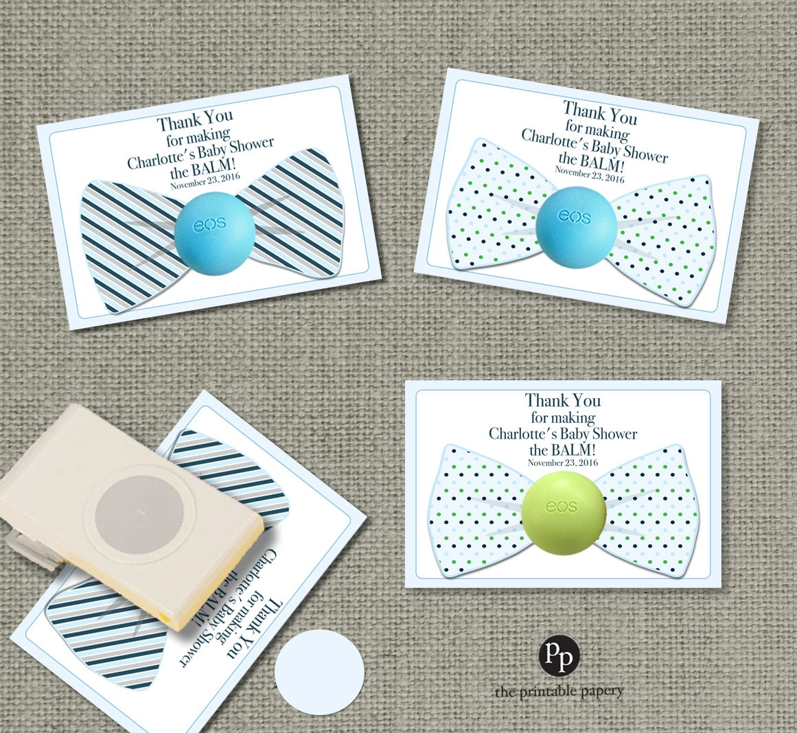 Bow Tie Baby Shower Favors For Eos Lip Balm Gifts | Thank You Favor - Free Printable Eos Baby Shower Template