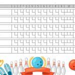 Bowling Score Sheet. Blank Template Scoreboard With Game Objects   Free Printable Bowling Score Sheets