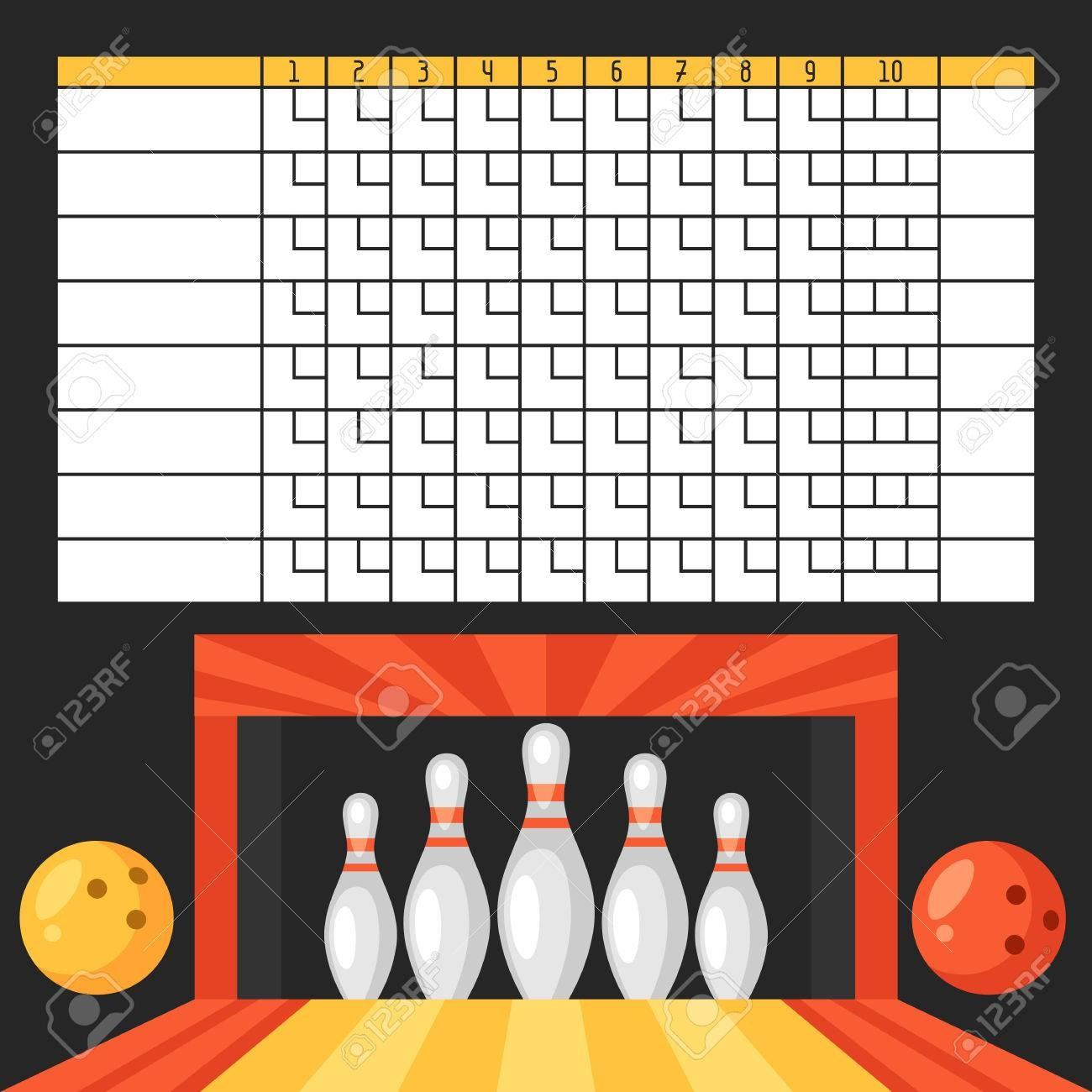 Bowling Score Sheet. Blank Template Scoreboard With Game Objects - Free Printable Bowling Score Sheets