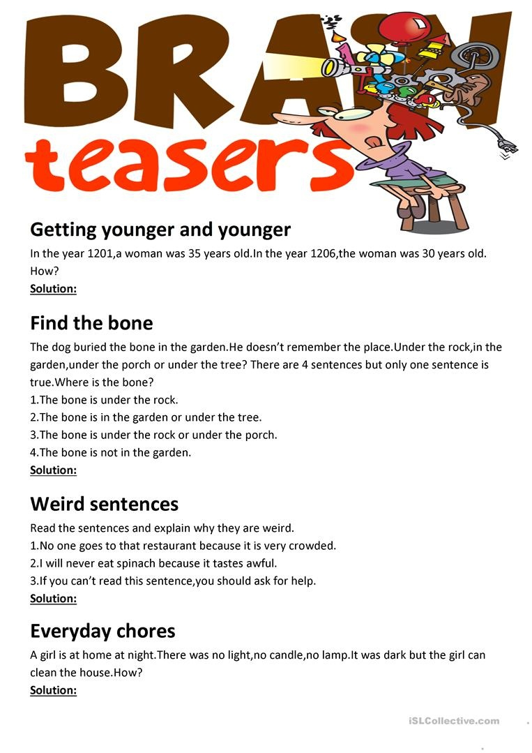 Brain Teasers(With Answer Key) Worksheet - Free Esl Printable - Printable Brain Games For Seniors Free