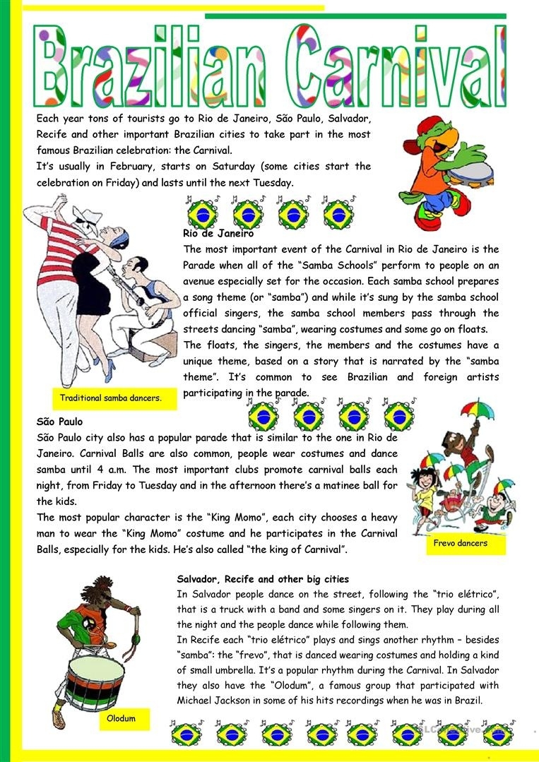 Brazilian Carnival – Text, Pictures, Comprehension, Links To Videos - Brazil Worksheets Free Printables